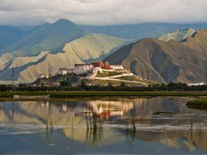 Chamadao,  Lhasa. Lharu Marsh, Back view of Potala Palace at sunset